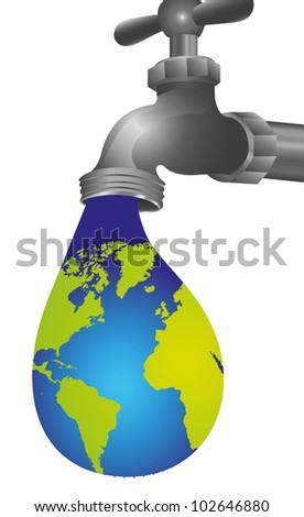conceptual illustration of leaking tap in the shape of Earth, illustration vector - stock vector