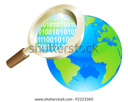Conceptual illustration of magnifying glass binary data world globe - stock vector