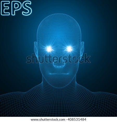 conceptual illustration of spiritual energy. powerful energy beams at eyes of human head. blue version.