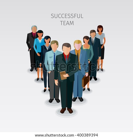 conceptual illustration of successful team of business people in flat design style - stock vector