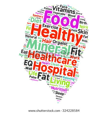 Conceptual illustration of tag cloud containing words related to healthy lifestyle