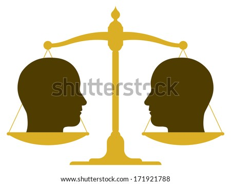 Conceptual illustration of the silhouette of a balanced vintage scale with two heads in profile on the pans depicting weight, value, equality and balance or drawing a comparison - stock vector