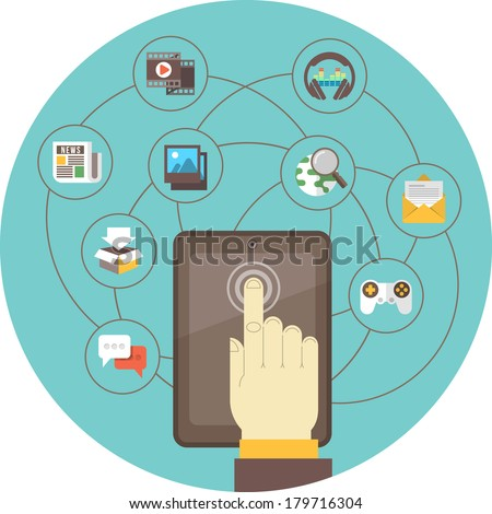 Conceptual illustration of the social networking using a tablet - stock vector