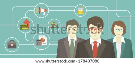 Conceptual illustration of the team of professionals with various business icons - stock vector