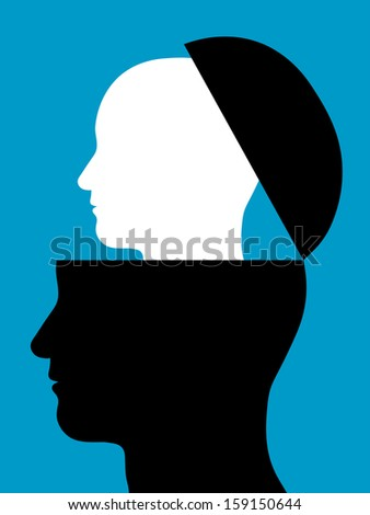 Conceptual illustration of two heads silhouetted in profile with a smaller white head rising out of a black head which is open like a lid - origin, continuity, intelligence, partners or replication