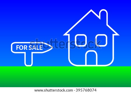 Conceptual illustration related with the sale of home. New white house and for sale text. - stock vector