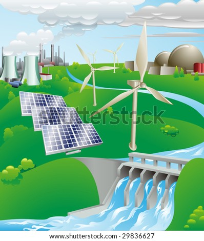 Conceptual illustration showing many different types of power generation, including nuclear, fossil fuel, wind power, photovoltaic cells, and hydro electric water power - stock vector