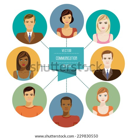 Conceptual illustration showing the diversity of people in a social network with eight avatars of men and women related unified communications network. Set flat design icons of faces. Vector 10 EPS - stock vector