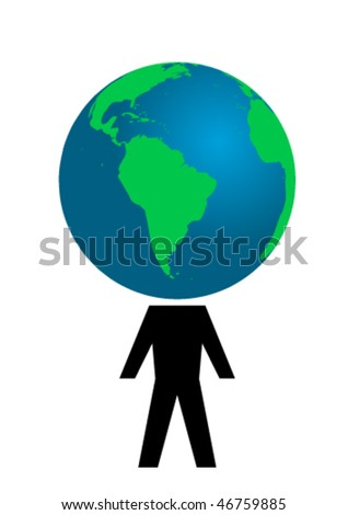 Conceptual illustration with man and globe