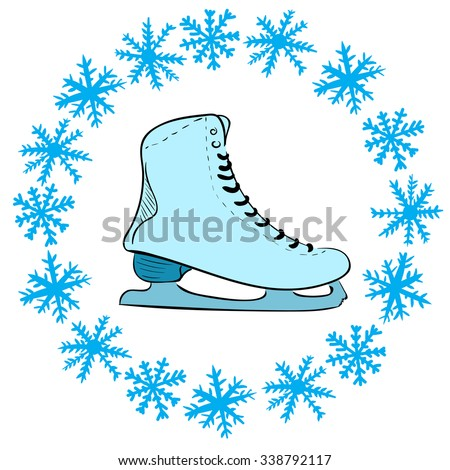Conceptual illustration with the snow round the skate