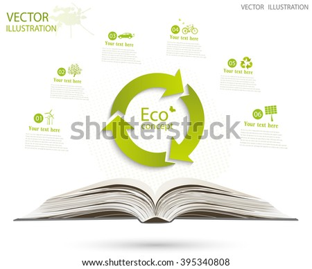 Conceptual image, help and care for recycling. Green triangular recycle symbol over an open book. Vector illustration isolated on white background. - stock vector