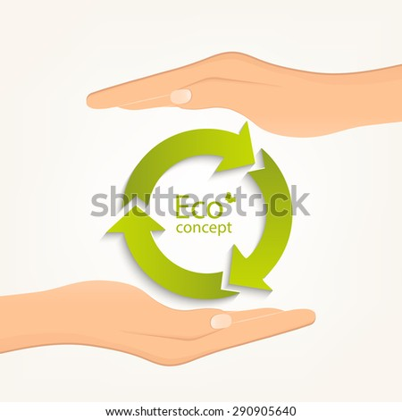 Conceptual image, help and care for recycling. Two hands holding green recycle symbol. Vector illustration isolated on white background. - stock vector