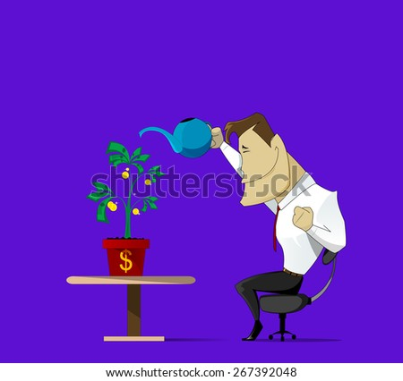 Conceptual image of a businessman caring for his success business - stock vector