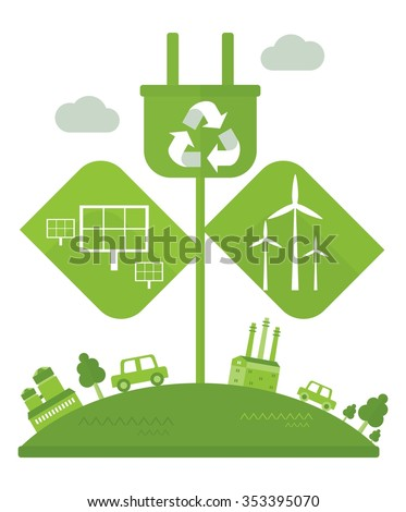 Conceptual image of effective conservation. Green eco town. Wind and solar energy saves the environment. Objects isolated on a white background. Flat vector illustration. - stock vector