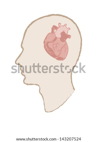 Conceptual image of men with heart in brains  Heart Vs.Brain - stock vector