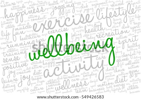 "Conceptual image of tag cloud containing words related to active life and healthy lifestyle. Word ""wellbeing"" emphasized."