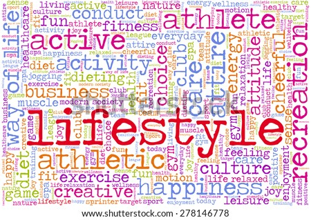"Conceptual image of tag cloud containing words related to healthy lifestyle. Word ""lifestyle"" emphasized. - stock vector"