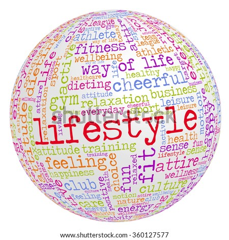 "Conceptual image of tag cloud containing words related to healthy lifestyle. Word ""lifestyle"" emphasized."