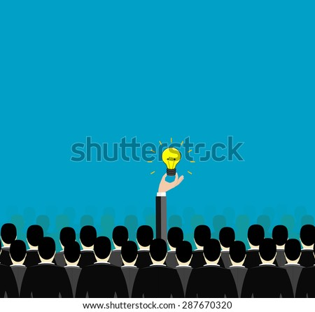 Conceptual image of the creative and unusual thinking, which is so different from the usual way of thinking - stock vector