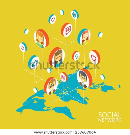 Conceptual image with social networks. Flat isometry, vector illustration - stock vector