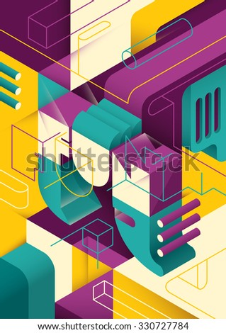 Conceptual isometric abstraction. Vector illustration. - stock vector