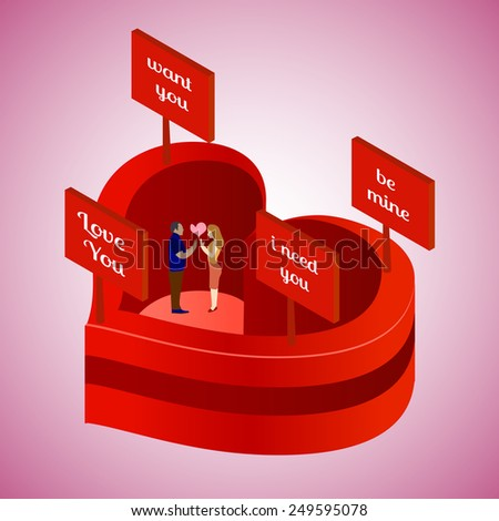 Conceptual Isometric Illustration with love couple in red heart. Original and modern idea.  - stock vector