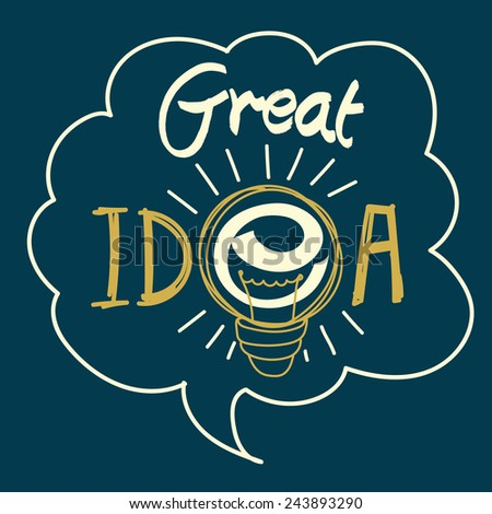 """Conceptual lettering sign """"Great Idea"""". Letters with light bulb in thought bubble. - stock vector"""