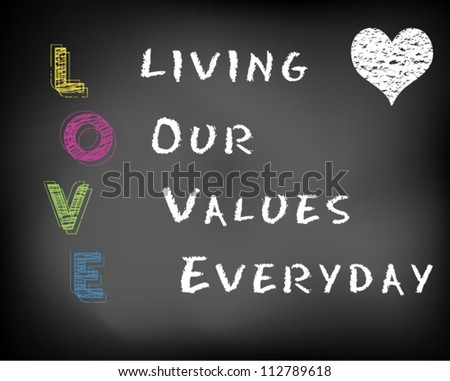 Conceptual LOVE acronym written on black chalkboard blackboard. Living our values everyday. Slide template. Vector Illustration.