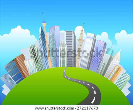 Conceptual mini planet green parks along with skyscrapers and roads. Calmness in city ,vector - stock vector