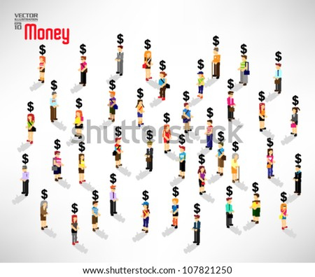conceptual money symbol with a large group of people vector design - stock vector