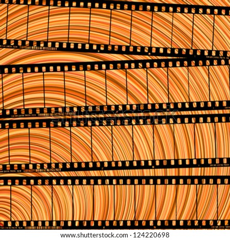 Conceptual movie background with film reel cuts, abstract art . - stock vector