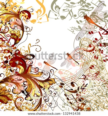 conceptual music background with dragonfly, ornament and notes - stock vector
