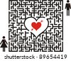 Conceptual of love maze. Boy is going to his girlfriend through the Labyrinth of Heart.  Vector Illustration - stock vector
