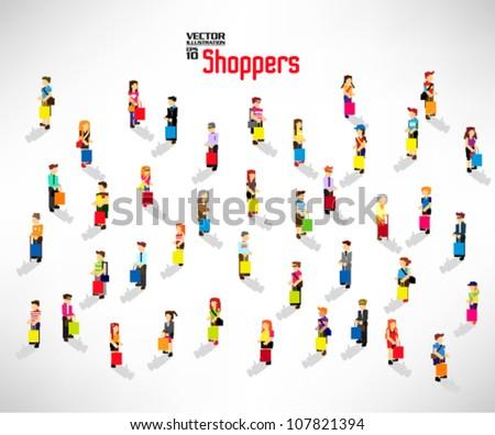conceptual people shopping with bags vector icon design - stock vector