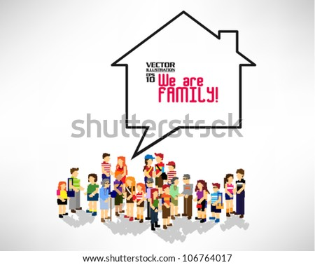 conceptual pixel people family vector design