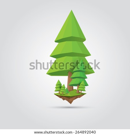 Conceptual polygonal geometric tree. Abstract vector Illustration, low poly style. Stylized design element. Background design for banner, poster, flyer, cover, brochure. Logo design. - stock vector