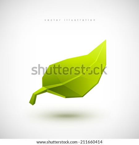 Conceptual polygonal green leaf. Abstract vector Illustration, low poly style. Stylized design element. Logo design. - stock vector