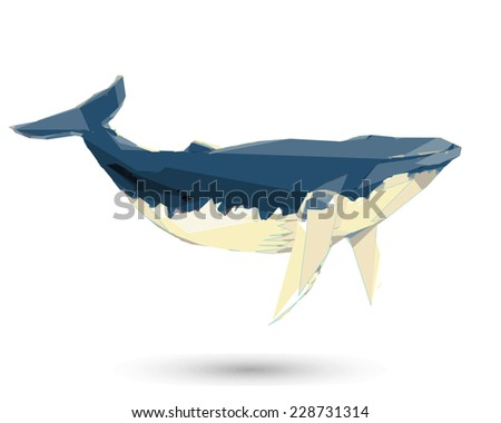 Conceptual polygonal Humpback Whale. Abstract vector Illustration, low poly style. Stylized design element. Background design for poster, flyer, cover, brochure. Logo design. - stock vector