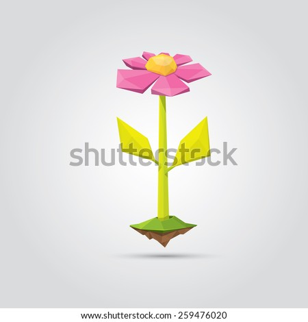 Conceptual polygonal pink spring flower. Abstract vector Illustration, low poly style. Stylized design element. Background design for banner, poster, flyer, cover, brochure. Logo design. - stock vector
