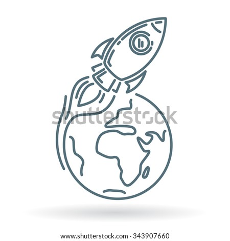 Conceptual rocket orbit earth icon. Rocket orbit earth sign. Rocket orbit earth symbol. Thin line icon on white background. Vector illustration of rocket orbiting earth. - stock vector