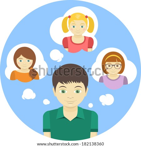 Conceptual round illustration of a boy thinking about several girls - stock vector