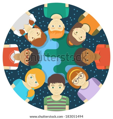 Conceptual round illustration of multiracial children on the background of the Earth and the starry sky - stock vector