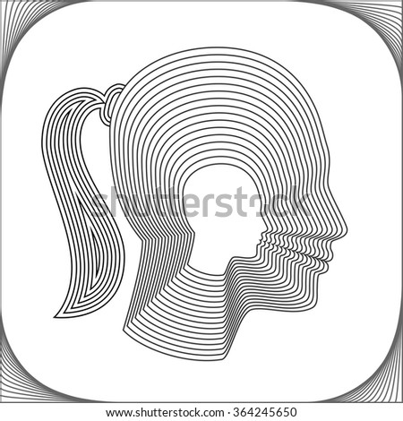Conceptual side silhouette of a girl. Beautiful girl made from concentric thin line shapes. Modern vector illustration.