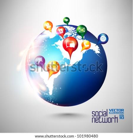 conceptual social network vector design - stock vector