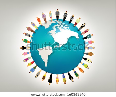 conceptual social network with many people icon gather around globe vector design - stock vector