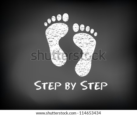 Conceptual step by step slide foot on black chalkboard and white chalk. Footprint presentation template. Vector Illustration. - stock vector
