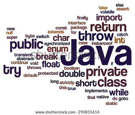 Conceptual tag cloud containing reserved words from programming language Java. Cloud related to web and software development and engineering, programing, coding, computing and software applications. - stock vector