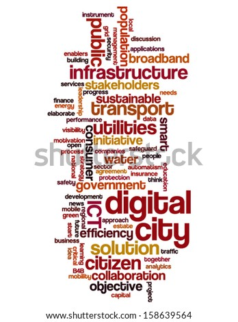 Conceptual tag cloud containing words related to digital city, smart city, infrastructure, ICT, efficiency, energy, sustainability, development and other ICT related terms  - stock vector