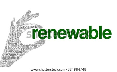 Conceptual tag cloud containing words related to ecology, environment, global warming, pollution, renewable resources, recycling, conservation, efficiency... - stock vector