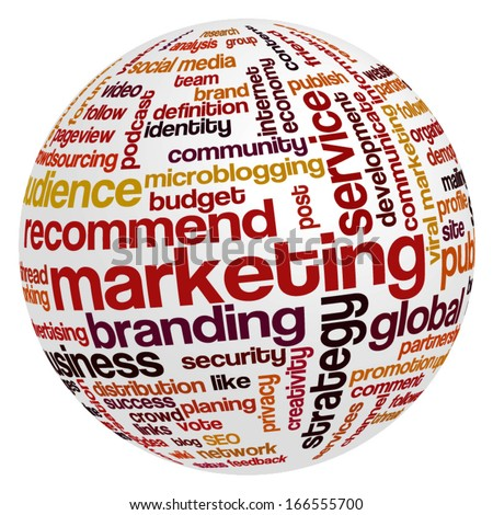 Conceptual tag cloud containing words related to marketing, business, advertising, social media, blogs, social networks and Internet in shape of sphere. - stock vector